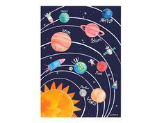 Kunterbuntes Poster von unserem Sonnensystem fürs Kinderzimmer. Hochwertiger und ökologischer Druck auf Grundlage von Aquarellmalerei. Das Poster wird ohne Rahmen geliefert. Als Geschenk zu...