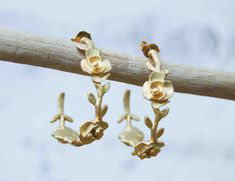 Roses & Vine Golden Hoop Earrings Wedding Bride by redtruckdesigns