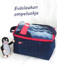 Eväslaukun tai kylmälaukun ompeluohje Lunch Box, Sewing, Bags, Handbags, Dressmaking, Taschen, Purse, Sew, Stitching