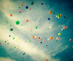sideways falling balloons