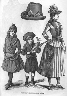 Late Victorian Era Clothing: Late Victorian Childrens Fashions - April 1889 Petersons Magazine