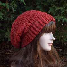 Cinnamon Red Slouchy Crochet Hat - Womens Slouch Beanie - Ladies Oversized Ribbed Cap - Chunky Hat on Etsy, $27.00