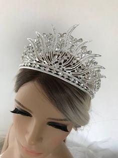 Silver Tiara Bridal Crown Crystal Wedding Tiara Wedding Hair | Etsy Bridal Crown, Bridal Tiara, Bridal Headpieces, Gold And Burgundy Wedding, Shoulder Necklace, Silver Tiara, Wedding Gloves, Lace Flower Girls, Crystal Crown