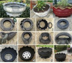 Old tire flower pot