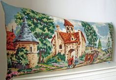 Huge French Needlepoint Pastoral Countryside by Retrocollects £70 https://www.etsy.com/shop/Retrocollects