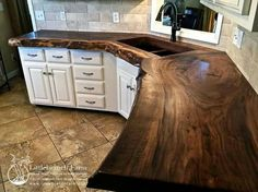 Image result for kitchen counter made out of tree logs