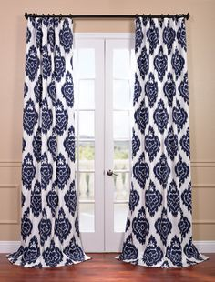 Get Ikat Blue Printed Cotton Curtain & Drapes