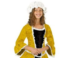Girls 18th Century/1700s/Colonial Costume - Dandelion Satin Brocade and Black Velveteen Two Piece Dress - Historical and Period Clothing