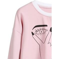 SheIn(sheinside) Pink Gesture Print Contrast Trim Sweatshirt ($15) ❤ liked on Polyvore featuring tops, hoodies, sweatshirts, stretch top, pullover sweatshirt, pink top, stretchy tops and print top