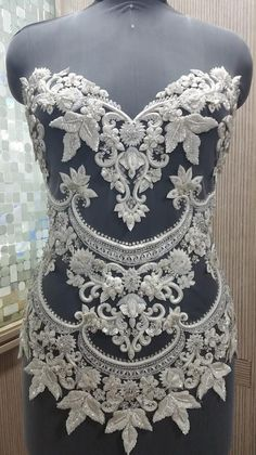 Hand Beaded and Embroidered WEDDING DRESS BODICE In Over 50 Styles