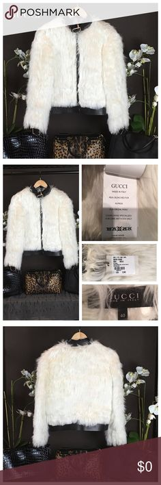 """NWT GUCCI FUR JACKET Stunning!! Gucci jacket with fur & black leather trim, front pockets, buckle closure at cuffs and collar & has front zip closure. Gorgeous!! Size S US4, IT40 Approx  Measurements: Bust 36"""", Waist 34"""", Shoulder 14"""", Length 22.5"""", Sleeve 33"""" Material: Trim-100% Leather Material: Cream/Off-White Alpaca fur. SOLD OUT! Condition: Pristine-NWT. Gucci Jackets & Coats"""