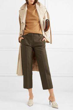 Victoria Beckham Cropped woven straight-leg pants, camel sweater and sleeveless coat Brown Pants Outfit For Work, Olive Green Pants Outfit, Dark Green Pants, Olive Pants, New Outfits, Chic Outfits, Work Outfits, Cropped Pants, Camel Pants