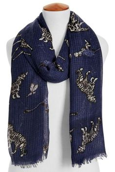 Buy Navy Tiger Print Scarf from the Next UK online shop