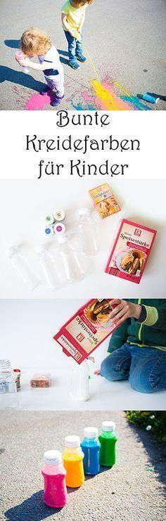 Spiele für draußen - flüssige Kreidefarben für Kinder selber machen