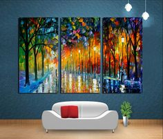 3Pcs Abstract Urban Street Painting Handmade Decorative Painting for Home Canvas Art Frameless Painting