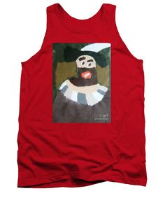 Patrick Francis Red Designer Tank Top featuring the painting Rembrandt - After Rembrandt Self-portrait by Patrick Francis