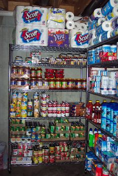 My goal for the closet space is to create a small beverage/snack stockpile. Small Space Storage, Small Space Organization, Pantry Organization, Emergency Food Storage, Emergency Preparedness Kit, Survival Skills, Survival Gear, Stock Room, Primitive Technology