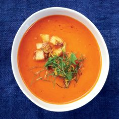 For the best texture in this vibrant tomato soup, puree half of the soup until smooth, then stir it into the chunky base.     More Fantastic Soups...