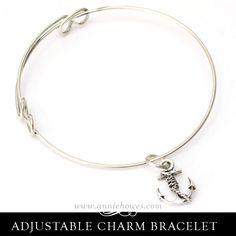 Adjustable Charm Bracelet with Anchor Charm.