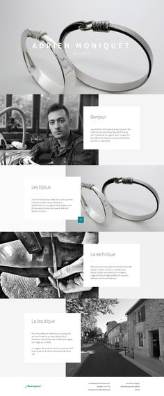 Lovely crisp product imagery in this uniquely arranged responsive one pager for jewellery designer, Adrien Moniquet. Layout Design, Design Ios, Web Design Tips, Web Layout, Website Layout, Interface Design, Flat Design, User Interface, Web Design Black