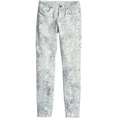 H&M Slim-fit twill trousers ($7.85) ❤ liked on Polyvore featuring pants, bottoms, jeans, jeans / pants / leggings, slim twill pants, white slim pants, paisley print pants, slim leg pants and 5 pocket twill pants