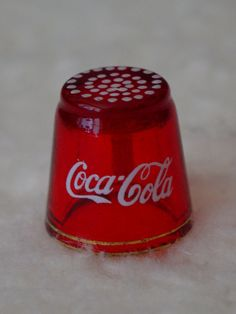Vintage Coca Cola Red Glass Sewing Thimble