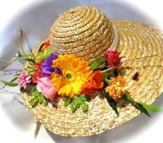Spring Straw Hat Brimmed Floral by Marcellefinery on Etsy, $48.00