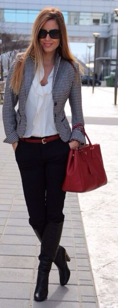 Love tweed jacket w RED accents