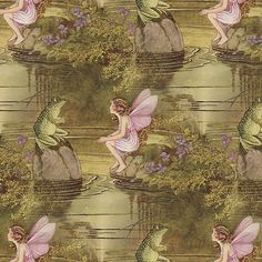 Fairy and Frog ~Ida Rentoul Outhwaite ~ Small fabric by peacoquettedesigns on Spoonflower - custom fabric