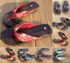 The fashionable women of Japanese clogs sandals Floral flat clogs
