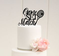Game Set Match Tennis Wedding Cake Topper by ThePinkOwlDesigns