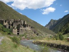 Shatili, historic highland village in Georgia; a unique complex of medieval-to-early modern fortresses and fortified dwellings; 60 towers cluster together to create a single chain of fortifications.