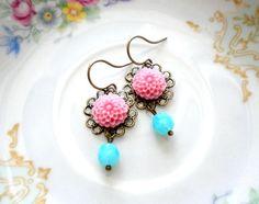 Turquoise Earrings - Flower Earrings - Pink Earrings. $16.00, via Etsy.