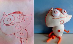Sean stumbled on this company that will take a drawing and turn it into a stuffed animal.  So fun!