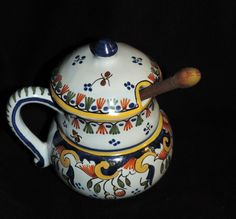 ANCIEN MOUTARDIER FAIENCE DE ROUEN EN  EXCELLENT ETAT