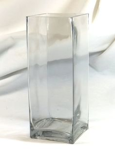 """Clear Glass 10"""" Block Vase Inch Base 10X4X4 Pillar Rectangle Candle Holder"""
