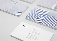 Logo and business card design with geometric pattern detail by Kokoro & Moi for Helsinki based architecture firm ALA. #Branding #Design #Architecture