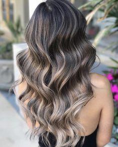 Smoky Ash Blonde Balayage Color Melt For Lusciously Wavy Black Brown