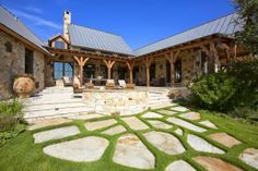 Love this back porch area. Fern Creek Cottage: A Rustic French Barn House in Texas (landscaping a hill with rocks) Porches, Le Ranch, Texas Ranch, Hill Country Homes, Country Houses, Country Farm, Ranch Style Homes, Ranch Homes, Rustic French