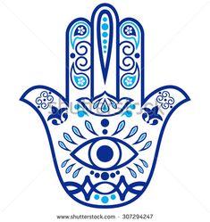Indian hand drawn hamsa with ornaments
