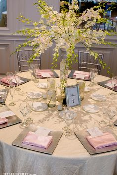 ... Unveiled | A Wedding Blog - Elegant Pink and Green Wedding Tablescape