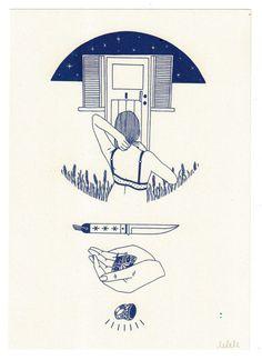 "lemaddyart:""Home"", Maddy Young, Risograph printAvailable here - http://maddyyoung.bigcartel.comPrinted by Caldera Press - calderapress.tumblr.com"