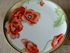 Red Poppy Bavaria Hand Painted Plate Signed Lambert