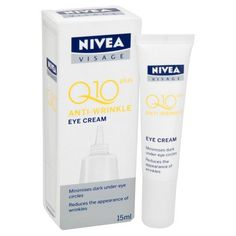 Nivea Visage Anti Wrinkle Q10 Plus Eye Cream by NIVEA. $17.30. SHIPPED FROM THAILAND.... reduces the appearance of wrinkles. Minimises dark under eye circles. Nivea Visage Anti-Wrinkle Q10Plus Eye Cream now contains 100% more skin's own CoEnzyme Q10. With double the strength of Q10, it supports the skin's energy metabolism from within, continuously fighting wrinkles. The formula is further enriched with UVA & UVB Filters to actively protect the skin against sun damage and help ...