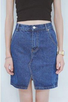 Split Front Blue Denim Skirt 01597