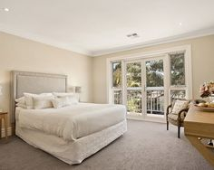 Elegant Residence Design in Modern Interior Style : Stunning White Bedroom With Grey Touches On Bed And Wall To Wall Carpet For Great Color ...