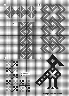 Crochet Border Stitch More nice medieval borders; these are Icelandic. Blackwork Patterns, Blackwork Embroidery, Cross Stitch Embroidery, Embroidery Patterns, Celtic Patterns, Beading Patterns, Tapestry Crochet Patterns, Fair Isle Knitting Patterns, Knitting Charts
