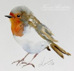 Tuesday Watercolors: Robin | Winsor Newtons Artists' watercolors and Daniel Smith's extra fine watercolors. The paper I use is 140lb Arches rough or fine | Karin @ Peppermint Patty's Papercraft