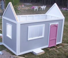 Playhouse Walls -This simple wall is designed to come from a single sheet of plywood. Easy to build and very sturdy, yet inexpensive and well planned to integrate with the side walls and roof.http://ana-white.com/2010/05/plans/playhouse-back-wall