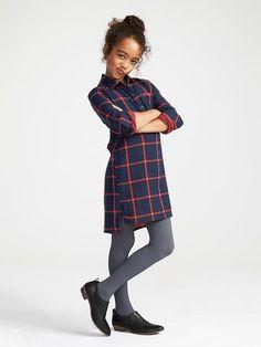 Girls Plaid Pullover Shirt Dress